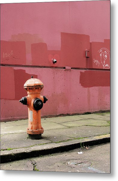 Orange Fire Hydrant With Pink And Red Metal Print