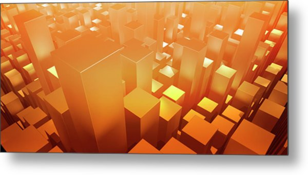 Orange Three Dimensional Rectangular Metal Print by Ralf Hiemisch