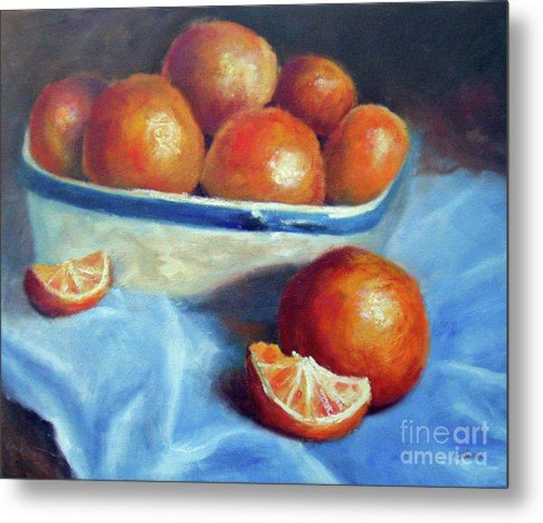 Oranges And Blue Metal Print