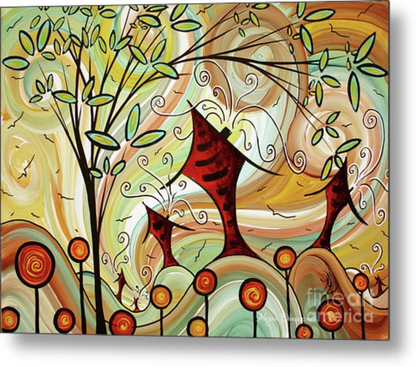 Original Whimsical Houses Landscape Paintings Fire Poppies By Megan Duncanson Metal Print
