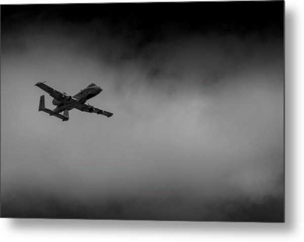 Metal Print featuring the photograph Out Of The Clouds - A-10c Thunderbolt by Doug Camara