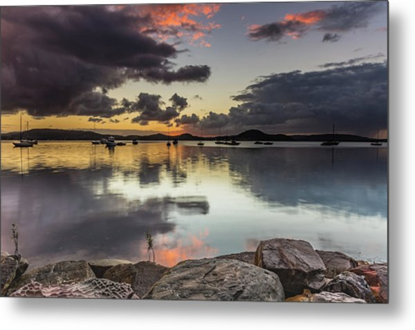 Overcast Waterscape With Hints Of Colour Metal Print