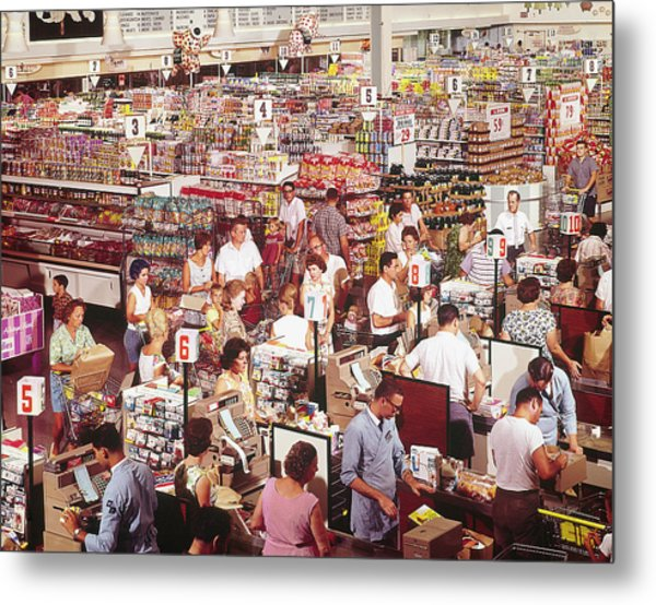 Overhead Of Stacked Shelves Of Food At S Metal Print