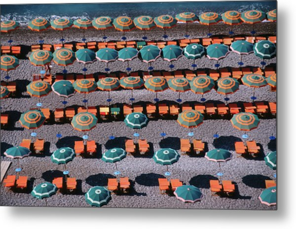 Overhead Of Umbrellas, Deck Chairs On Metal Print by Dallas Stribley