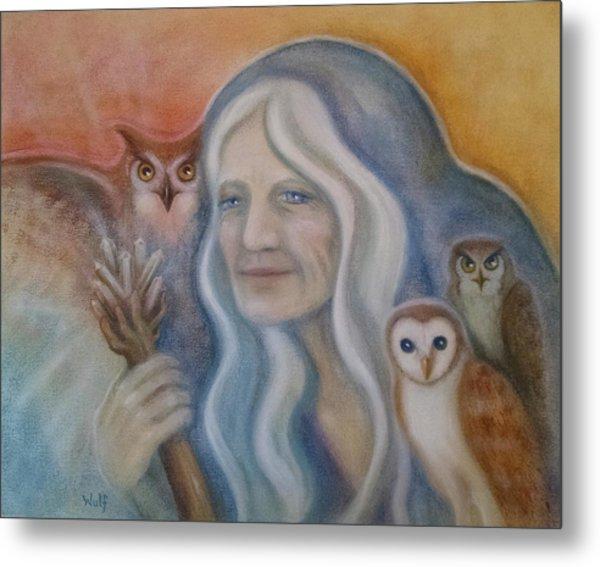 Owl Crone Metal Print
