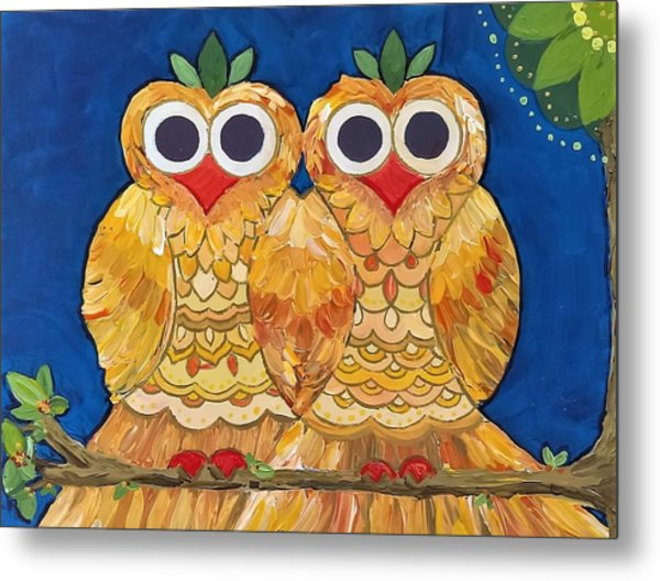 Owls On A Branch Metal Print