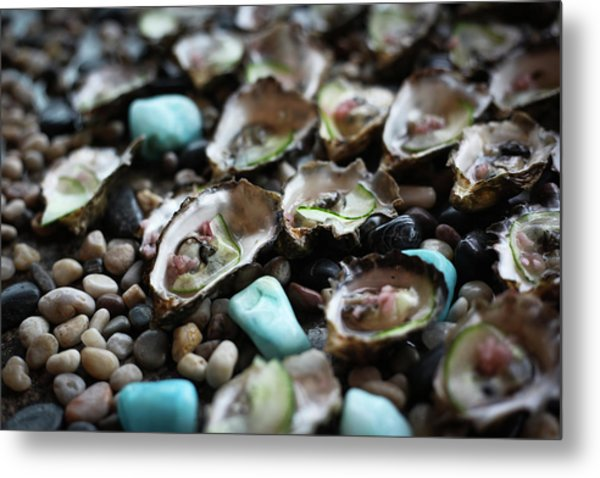Oysters In Shell With Cucumber On Stone Metal Print
