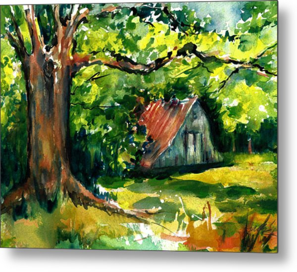 Ozarks Barn In Boxley Valley - Late Summer Metal Print