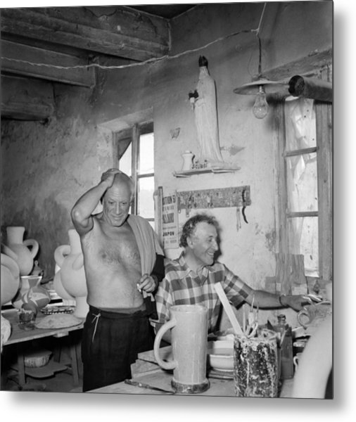 Pablo Picasso And Marc Chagall In 1948 Metal Print