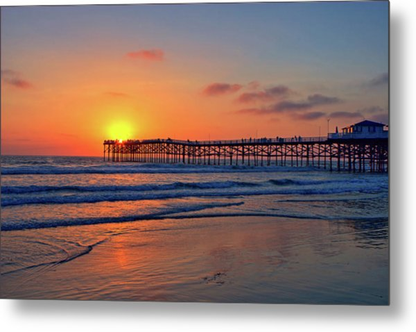 Pacific Beach Pier Sunset Metal Print