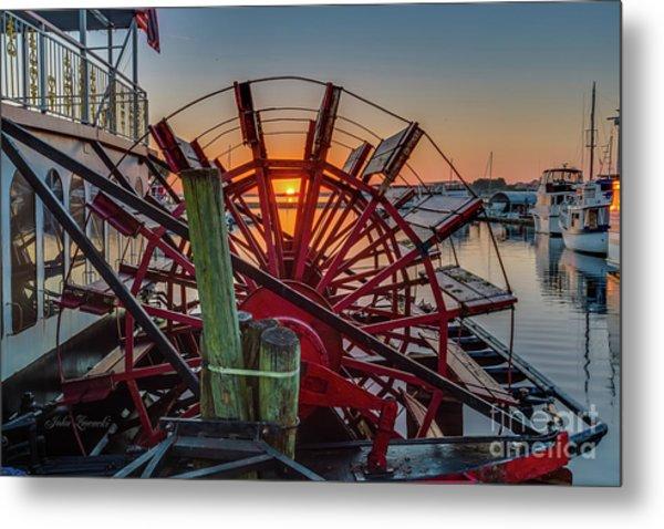 Paddle Wheel Sunrise Metal Print