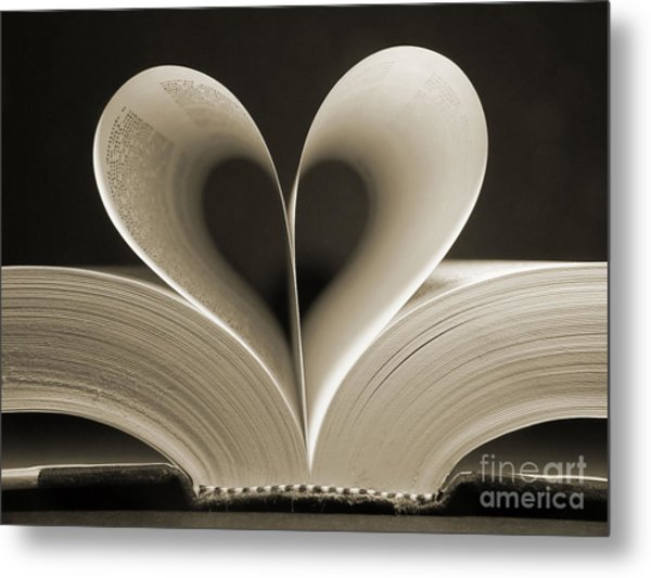 Pages Of A Book Curved Into A Heart Metal Print