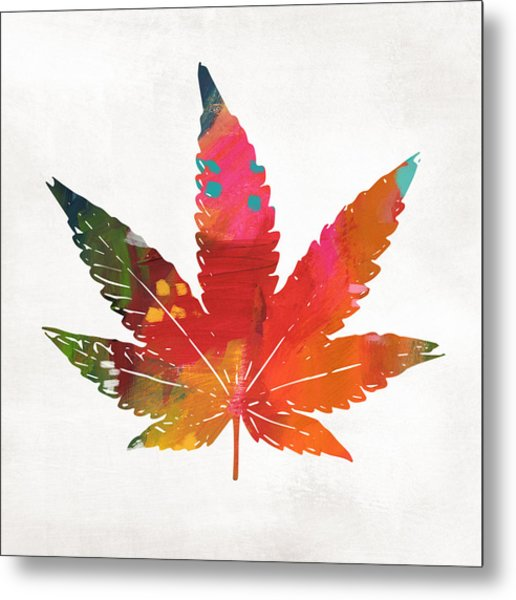 Painted Cannabis Leaf 1- Art By Linda Woods Metal Print
