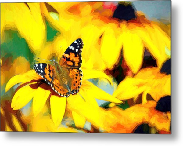 Painted Lady Butterfly Van Gogh Metal Print