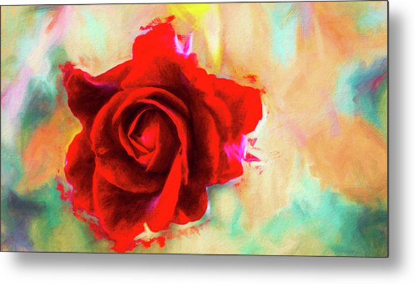 Painted Rose On Colorful Stucco Metal Print