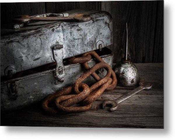 Painted Toolbox And Chain Metal Print
