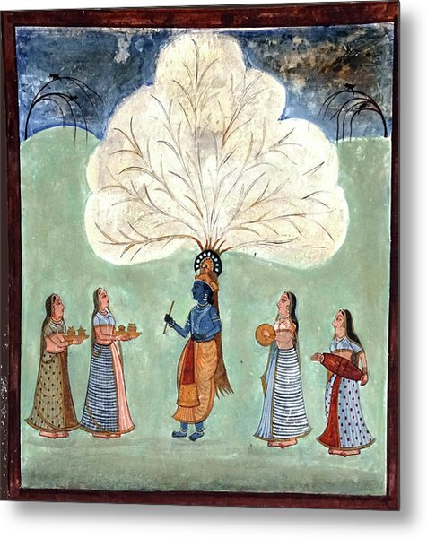Painting Fresco Of Krishna In The Women's Zenana Metal Print