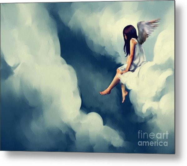 Painting Of Beautiful Angel Sitting On Metal Print