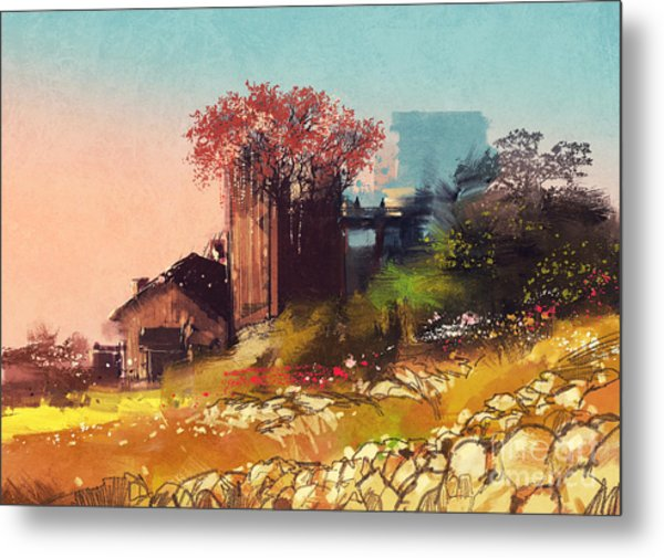 Painting Of Farm House On The Country Metal Print