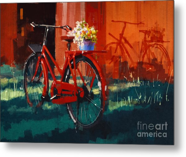 Painting Of Vintage Bicycle With Bucket Metal Print