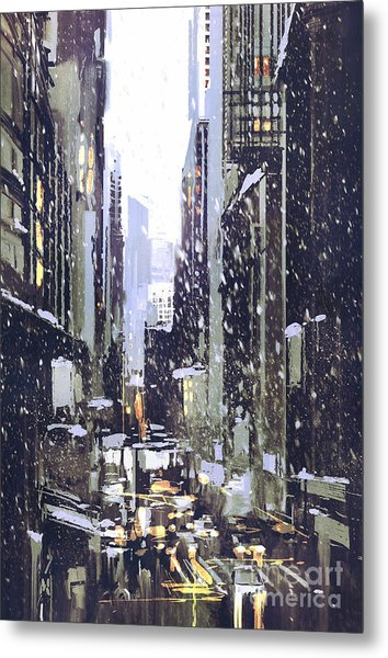 Painting Of Winter City With Metal Print