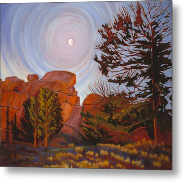 Pale Moon Over Vedauwoo Metal Print