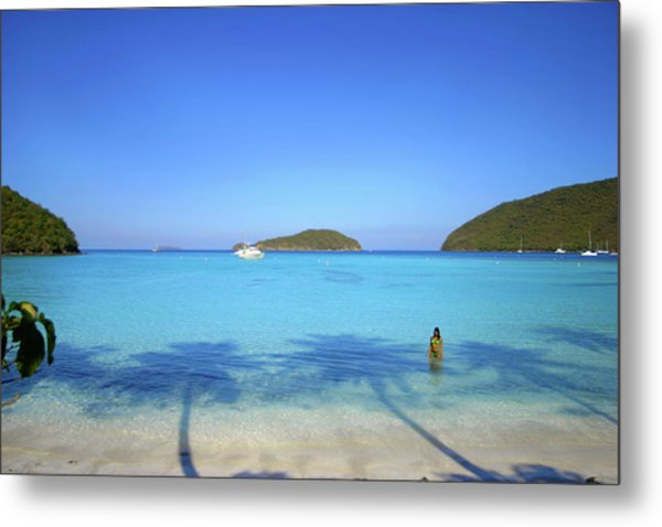 Palm Shadows On The Atlantic Metal Print