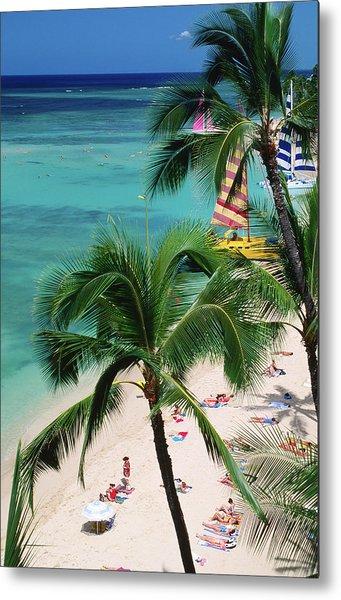 Palm Trees Over Waikiki Beach, Waikiki Metal Print