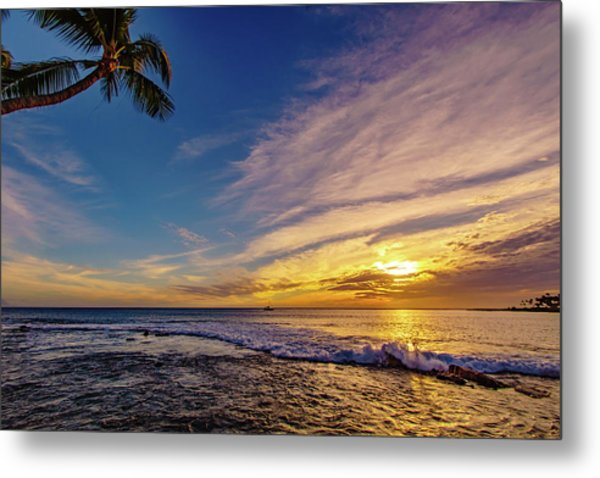 Palm Wave Sunset Metal Print