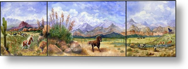 Panorama Triptych Don't Fence Me In  Metal Print
