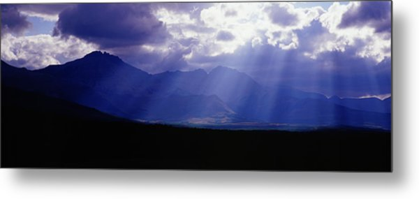 Panoramic Beaming Light In Waterton Metal Print by Jason v