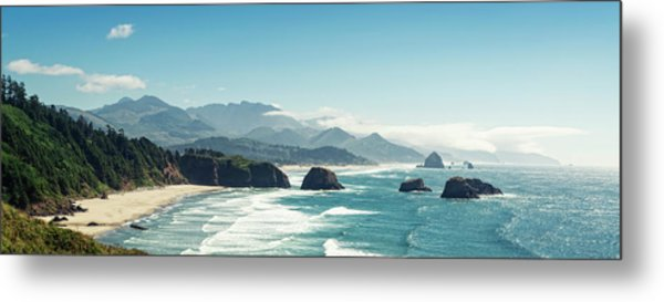 Panoramic Shot Of Cannon Beach, Oregon Metal Print by Kativ