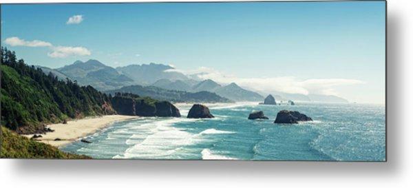 Panoramic Shot Of Cannon Beach, Oregon Metal Print