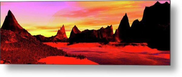 Panoramic View. Black Rock. Digitally Metal Print