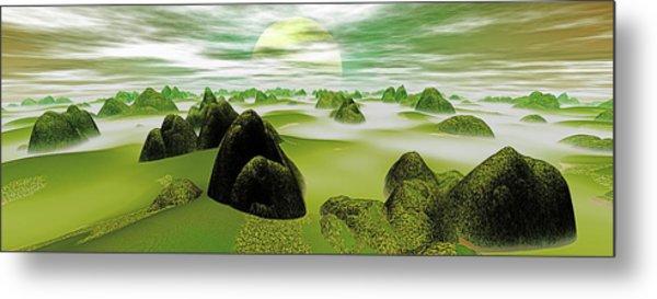 Panoramic View. Flowing Mist. Digitally Metal Print