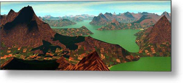 Panoramic View. Green Peak. Digitally Metal Print