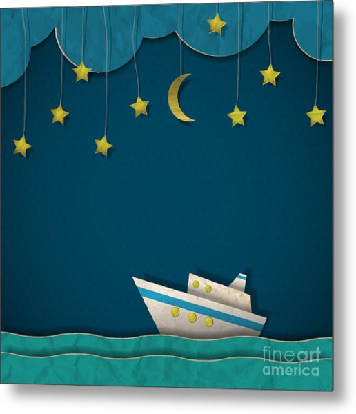 Paper Cruise Liner At Night. Creative Metal Print by A-r-t