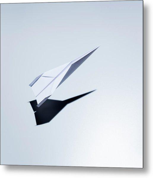 Paper Plane Taking Off Metal Print by Jorg Greuel