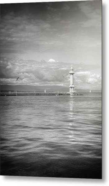 Paquis Lighthouse Geneva Black And White  Metal Print