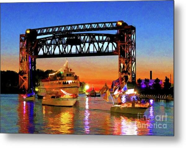Parade Of Lighted Boats Metal Print