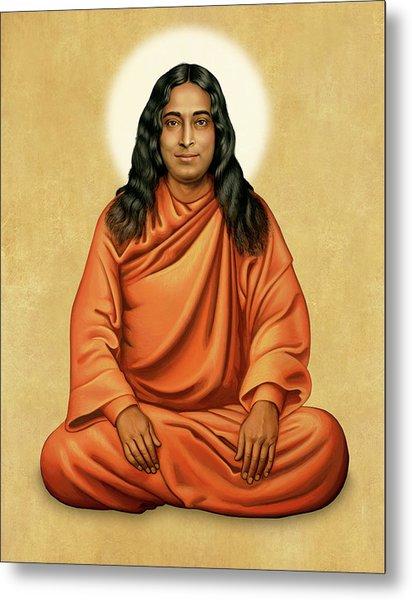 Paramhansa Yogananda On Gold Metal Print