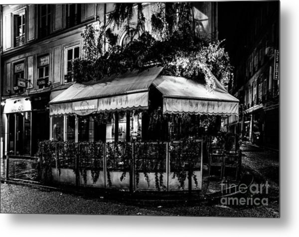 Paris At Night - Rue De Buci Metal Print