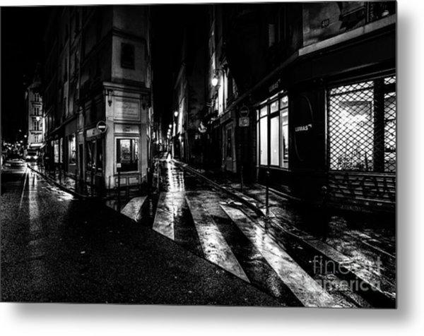 Paris At Night - Rue De Seine Metal Print