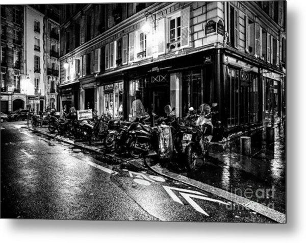 Paris At Night - Rue Jacob Metal Print