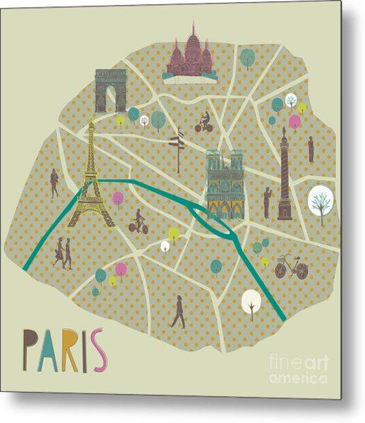 Paris Map Greeting Card Design Metal Print