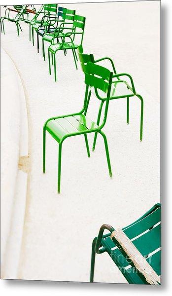 Parisian Metallic Chairs. Photo With Metal Print by Anatoli Styf