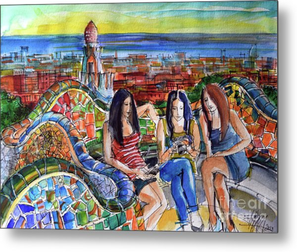 Park Guell Barcelona Photo Session Metal Print