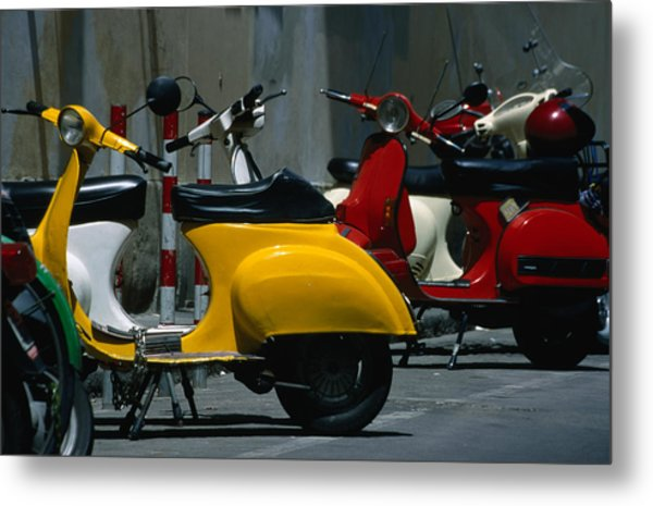 Parked Scooters Metal Print by Martin Moos