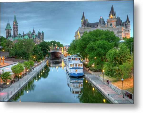 Parliament Hill  On The Rideau Canal Metal Print