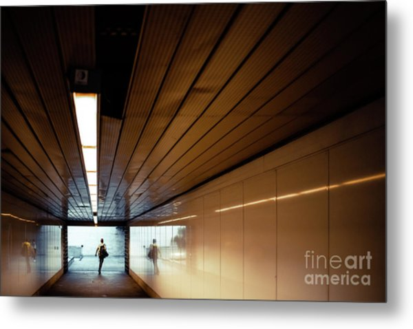 Passengers In A Hurry At The End Of A Tunnel At The Entrance To The Metro Station. Metal Print